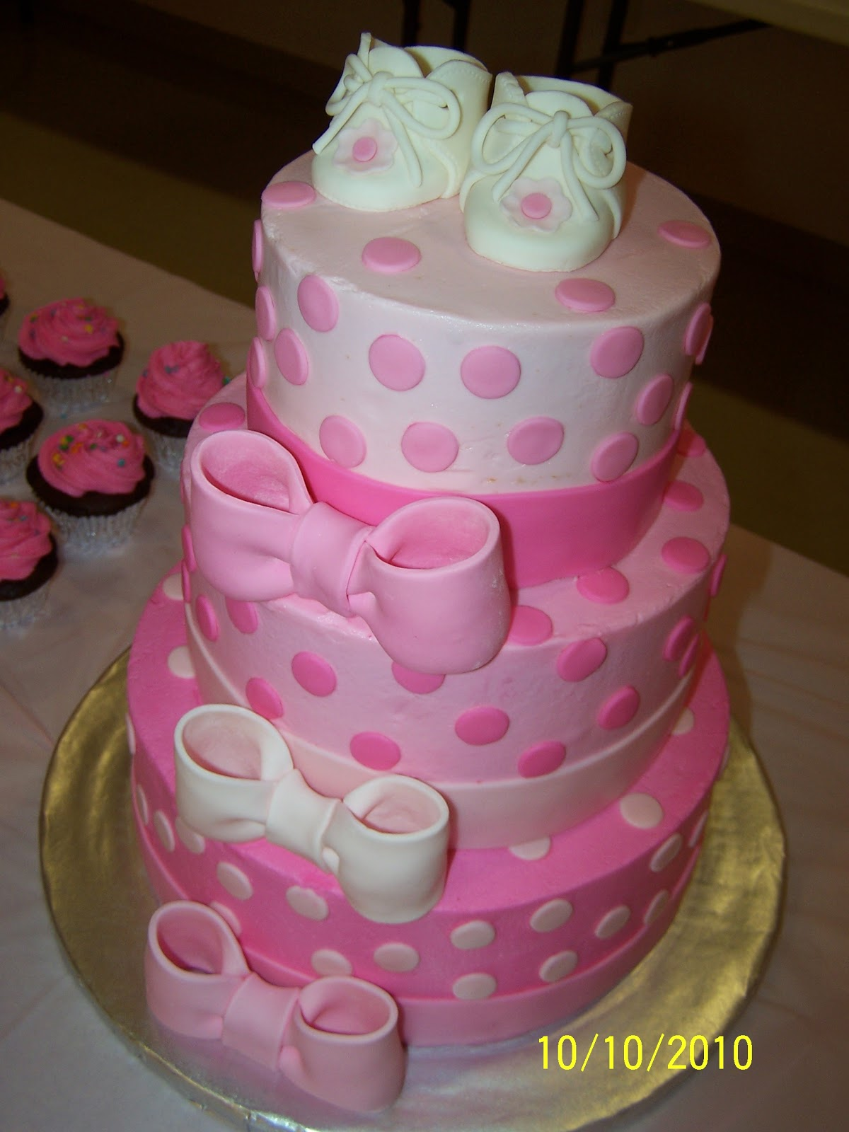 Cakes by Kristen H Pink bows and dots Baby Shower Cake