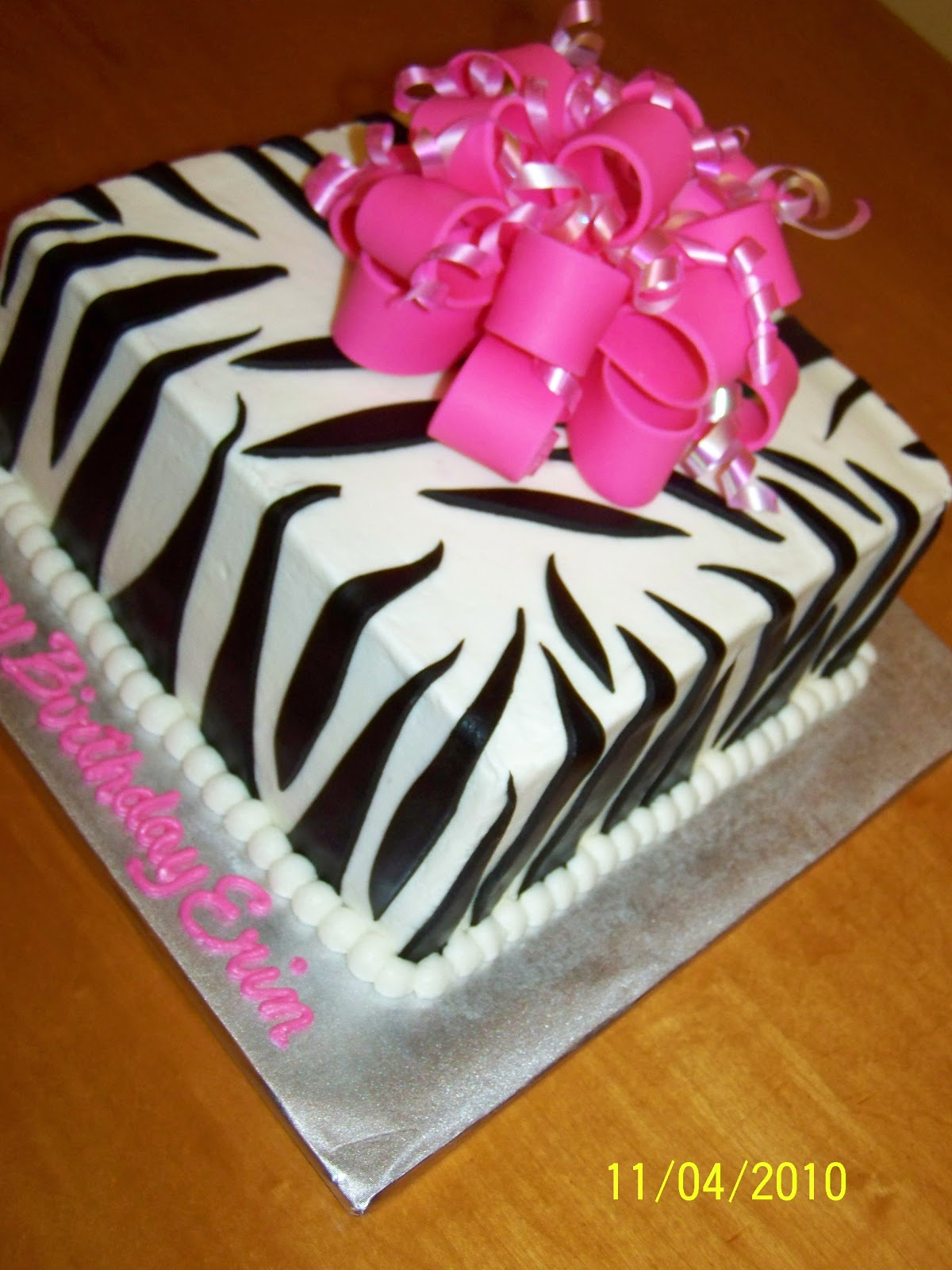 Cakes by Kristen H Zebra Gift Cake with Hot Pink Bow