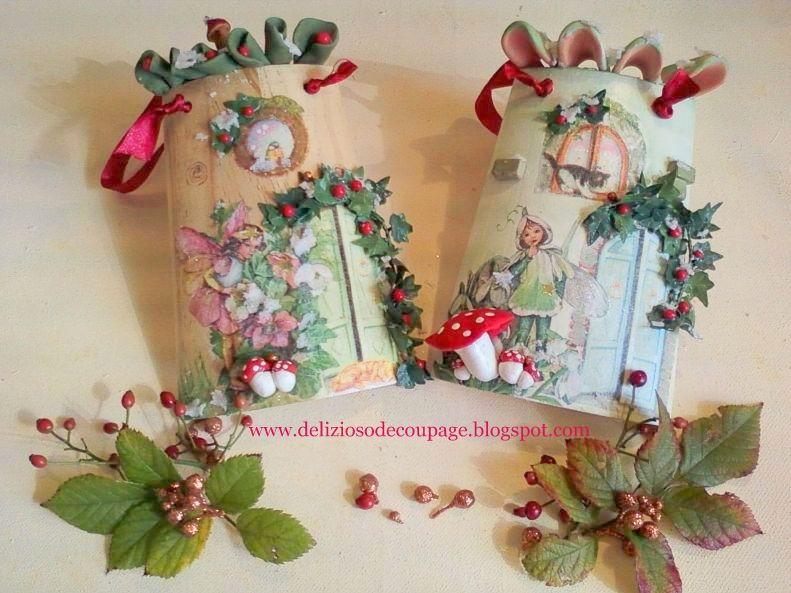 Delizioso d coupage d coupage sulle tegole la casetta dei folletti e nuove decorazioni natalizie - Decorazioni decoupage ...