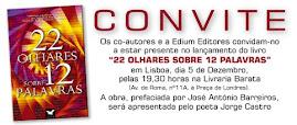 """CONVITE para apresentação do livro """"22OLHARES SOBRE 12 PALAVRAS"""" - Lisboa"""