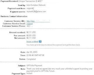 Pembayaran dari GPT ville ptc