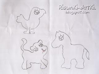Детские Рисунки трафарет карандаш животные лошадь теленок птичка зверюшки