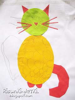 Детские Рисунки котик кошка аппликация