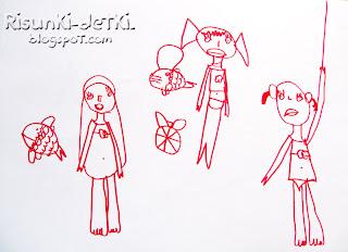Детские Рисунки фломастер русалки рыбки