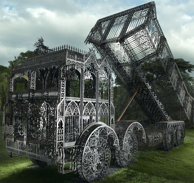 Toxiferous designs laser cut steel sculptures by wim delvoye for Industrial punk design
