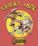 """CHUCK'S AMOK"" 100% cotton American Apparel vintage style red tee"