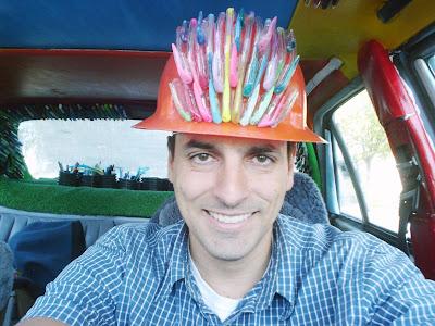Pen Guy Hard Hat 2.0 Made from Gel Pens