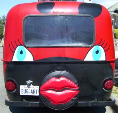Puffy Lips Tire Cover on the Lady Bug Art Car