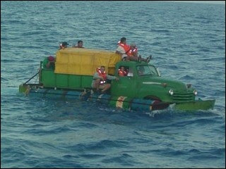 Cuban Car Floating in the Ocean