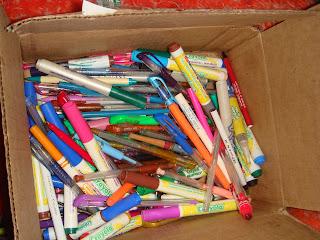 Box of Pens Donated From Denver Colorado