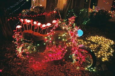 Art Motorcycle with Flamingo Christmas Lights