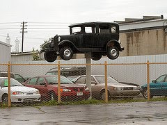 black model t on pole