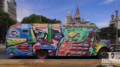 Argentine Bus Protester Gets Graffiti Makeover