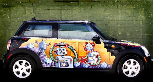 Animated Robots Mini Art Car by Robynn Sanders