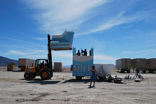Milktropolis Mutant Vehicle under Construction at Burning Man