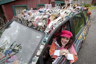 Kelly Lyles in her Excessories Odd-Yssey Art Car