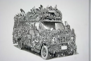 Wow Bus Art Car Drawing by Eric Carlos Bertrand