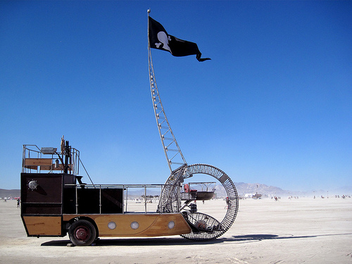 pirate ship burning man mutant vehicle side