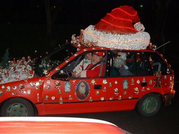 Santa Christmas Car with Lights - Art Car