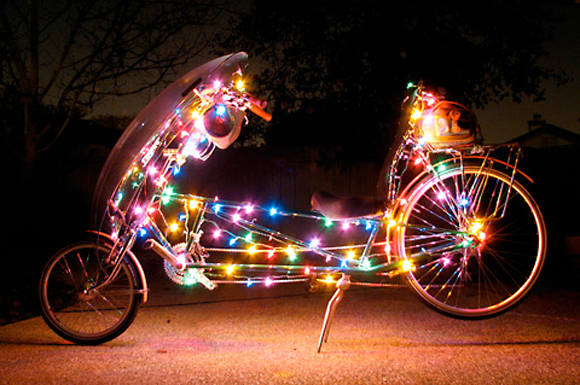 Christmas Bicycle with Lights - Art Bicycle