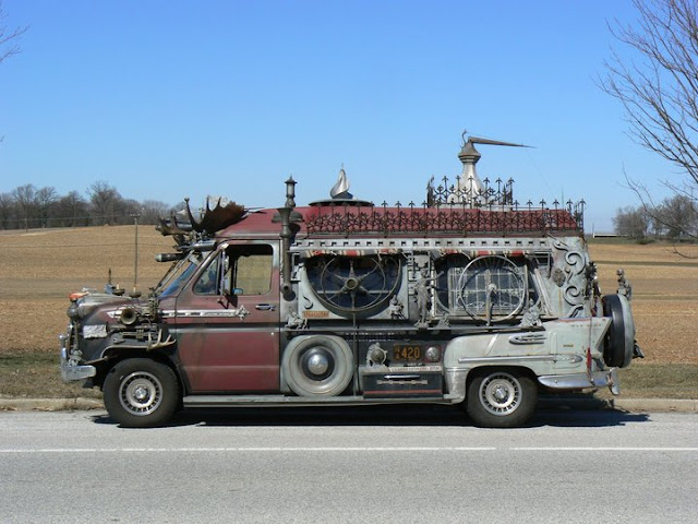 Vanadu Ford Art Car Side- Goth Apocalypse Hunter Camper