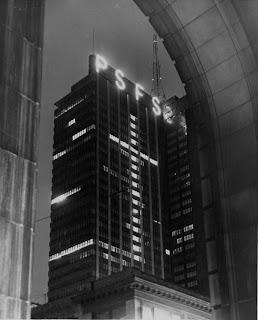 PSFS Building Illuminated at Night, 1956