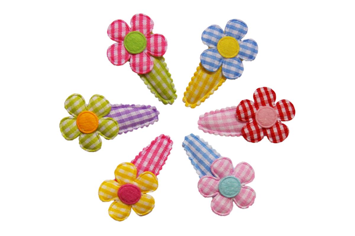 hair fairy gingham rainbow flower baby hair clip set