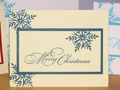 here are some simple christmas cards i made they are a single layer with a rectangle popout both stamps are penny black