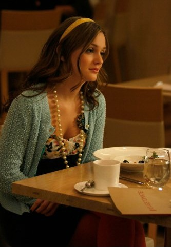 Blair Waldorf preppy cardigan and pearls