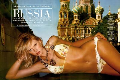 Model Anne Vyalitsyna in a bikini
