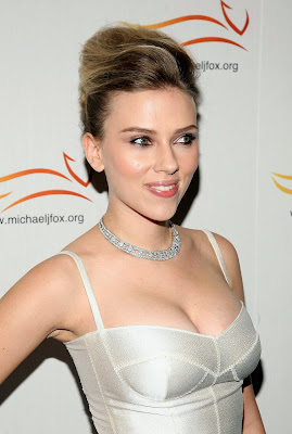 Scarlett Johansson looking amazing in a white dress