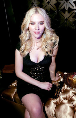 Scarlett Johansson in a black dress