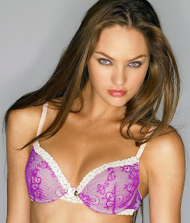 Heres a dark haired Candice Swanepoel in lingerie
