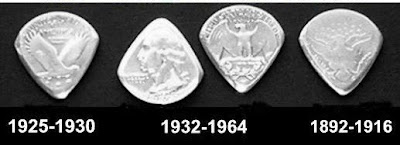 Guitar Pick from old coins