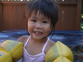 swiming with my floaties!