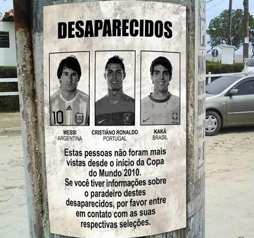 Desaparecidos:Messi Cristiano Ronaldo e Kaka não foram vistos nesta copa