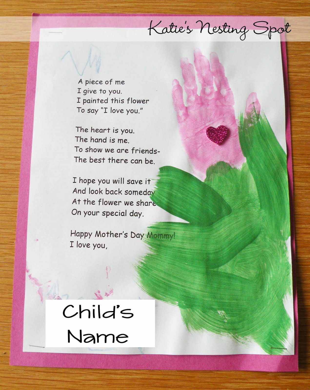... , starting with this sweet little handprint flower. The poem reads