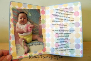 Recycled crafts:  Upcycled altered board book about baby madle with Modge Podge and scrapbook papers