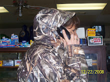 Grandma Becky on the phone at her store.