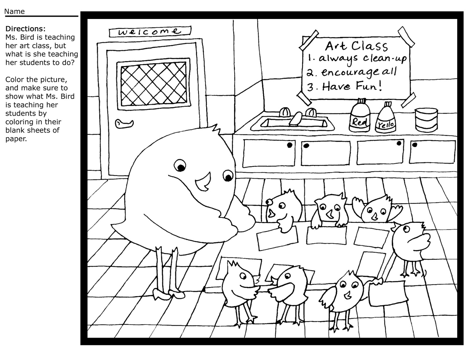 Teacher Birdie Coloring Sheet