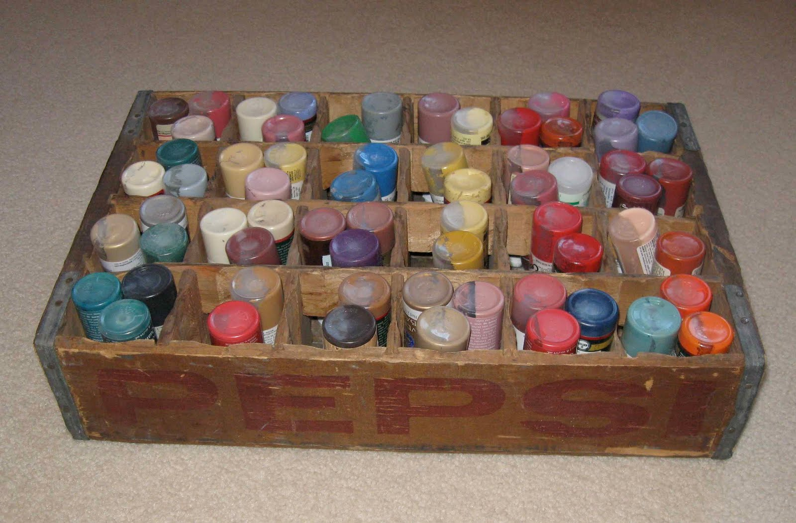 My Cute Storage Solution With You I Found An Antique Soda Bottle Crate At Many Years Ago And It Is Just Perfect For Holding Paints