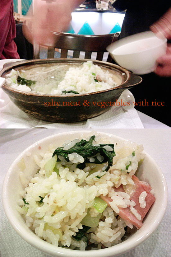 salty meat and vegetables with rice