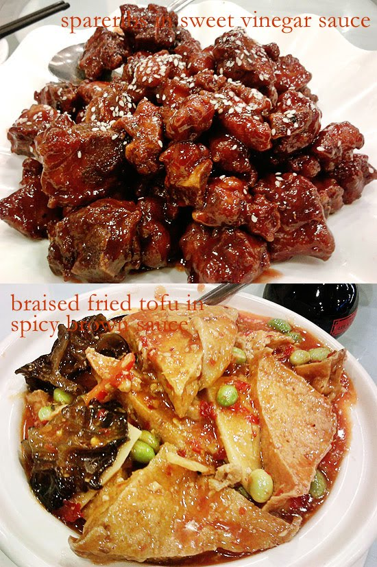 spareribs in sweet vinegar sauce and braised fried tofu in spicy brown sauce
