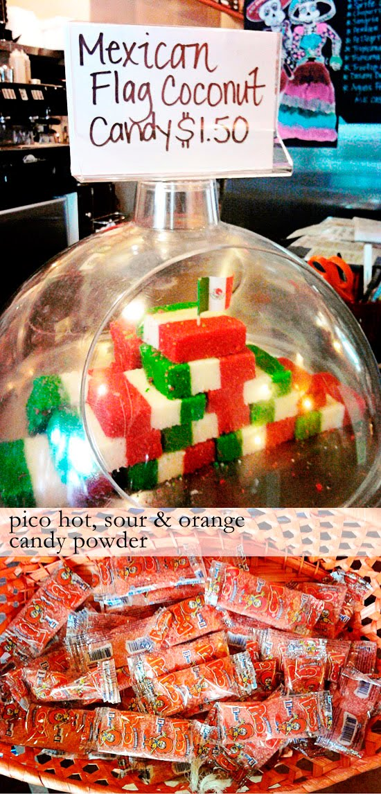 Mexican flag coconut candy; Pico hot, sour and orange candy powder