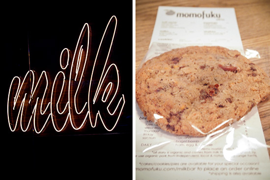 Milk Bar in neon; the compost cookie