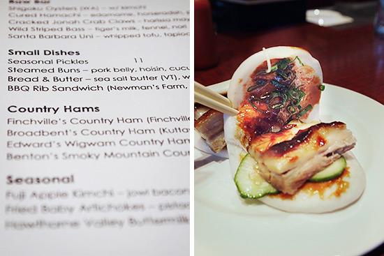 Ssäm Bar menu; the famous pork buns