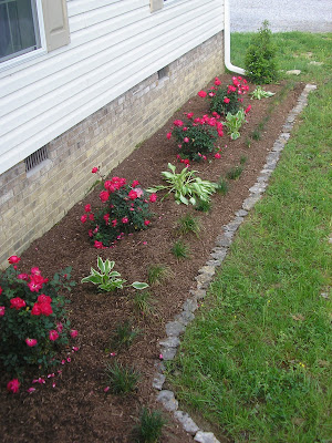 Forever family new flower beds for Flower beds in front of house