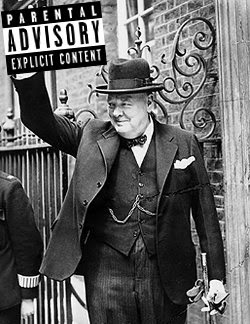 Winston Churchill v sign censored