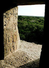 Carved relief in the doorway of the temple atop the pyramid