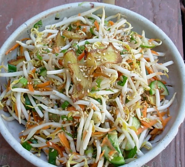 ... to Yours: Bean Sprout Salad with Ginger, Scallions and Cucumber